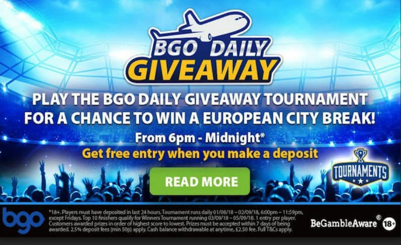 Discover Europe or Win Money with the BGO Casino Daily Give Away
